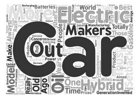 electric and hybrid cars text background word cloud concept Çizim