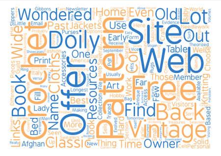 vintage crochet patterns text background word cloud concept Ilustração Vetorial