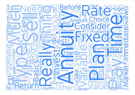 annuity: sell annuities text background word cloud concept