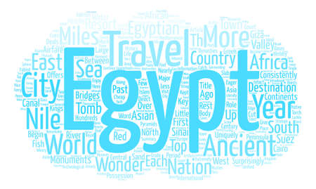 Travel to Egypt Miles of Nile and Worlds of Wonder text background word cloud concept Illustration