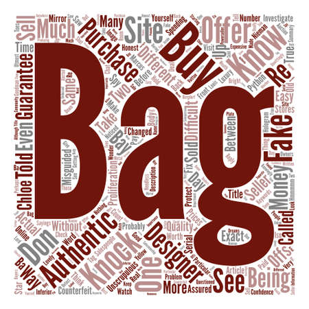 How To Buy Designer Bags With Confidence text background word cloud concept Ilustração