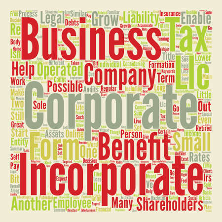 Incorporate Your Business for Long Term Benefits Word Cloud Concept Text Illustration