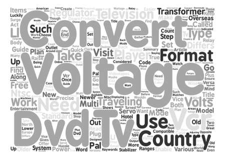 Guide to TV VCR and DVD Voltage Converters text word cloud concept