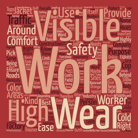 High Visibility Work Wear Word Cloud Concept Text Background