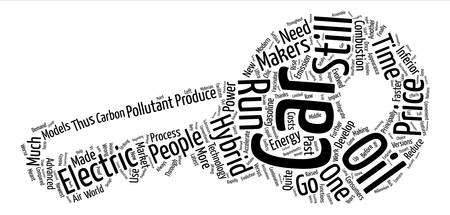 hybrid cars vs oil cars text background word cloud concept