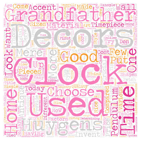 mere: Clocks As Home Decors text background wordcloud concept Illustration