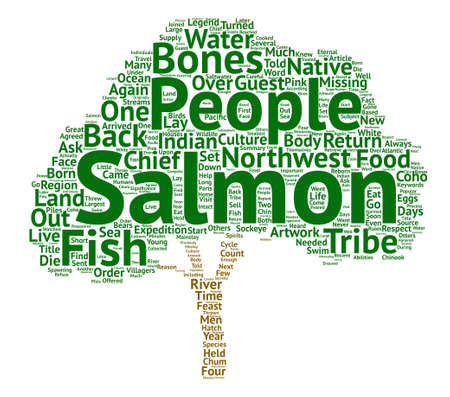 coho: The Salmon in Northwest Native Indian Artwork and Culture text background word cloud concept