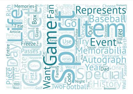 スポーツの記念品のコレクター アイテム テキスト背景単語クラウド コンセプト