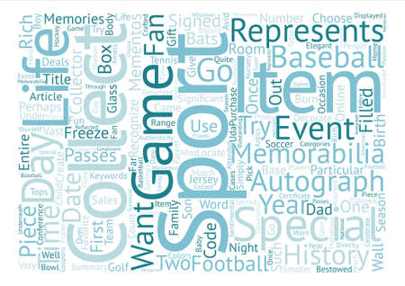 filled: Sports Memorabilia Collectible Items text background word cloud concept Illustration