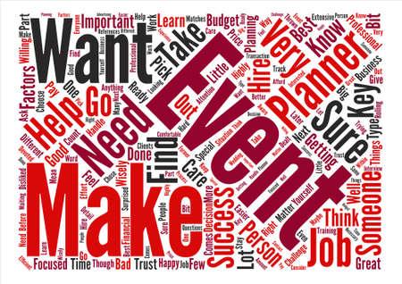 Belangrijke factoren van een succesvolle gebeurtenisplanner Woordconcept Tekstachtergrond