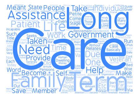 Long term assistance guide Word Cloud Concept Text Background