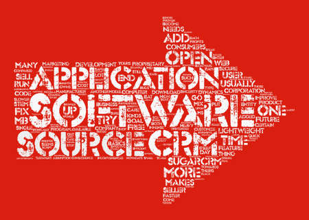 proprietary: The Unintended Sincerity of SugarCRM text background word cloud concept Illustration
