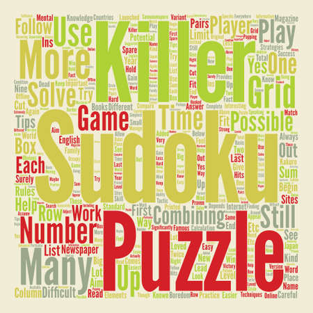 killer sudoku text background word cloud concept