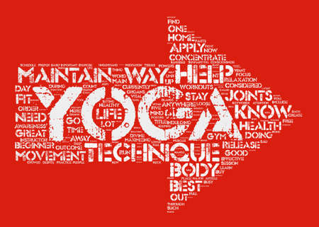 Yoga For Beginners Yoga techniques on the loose text background word cloud concept Illustration