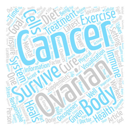 Ovarian cancer cure text background word cloud concept