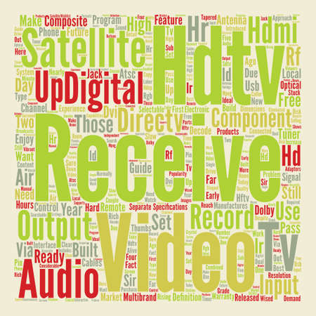hdtv satellite receivers Word Cloud Concept Text Background