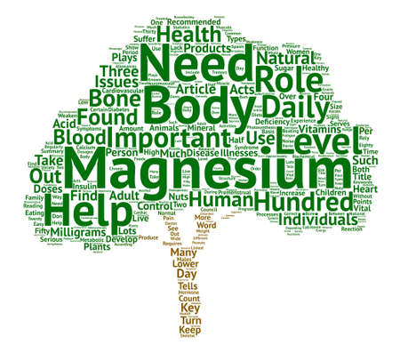 The health importance of Magnesium text background word cloud concept Illustration