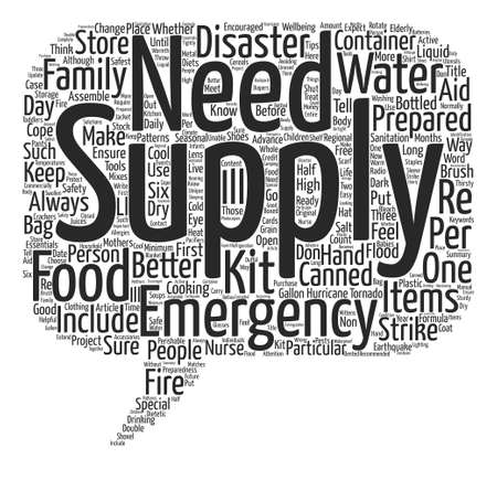 disaster preparedness: Disaster Preparedness The Essentials Of Emergency Supplies text background word cloud concept