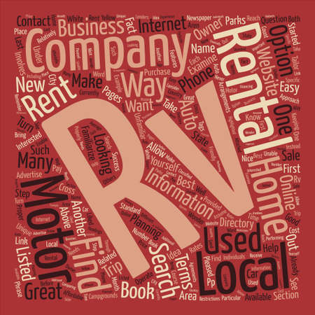 rentals: How to Find RV Rentals text background word cloud concept