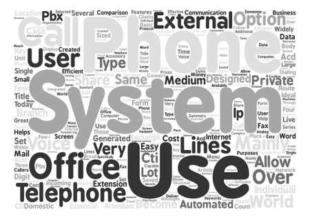 사무실 전화 시스템 텍스트 배경 단어 구름 개념 일러스트