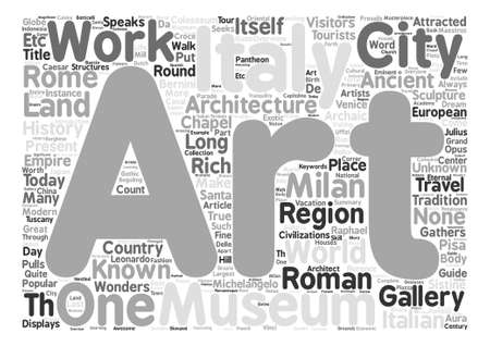 Italian travel guide text background word cloud concept