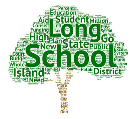 secondary: The Long And Short Of Long Island Schools Word Cloud Concept Text Background Illustration