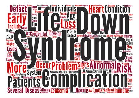 De complicaties van Down syndroom tekst achtergrond woord wolk concept Stock Illustratie