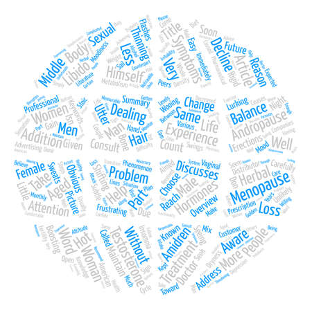OVERVIEW OF MALE MENOPAUSE text background word cloud concept