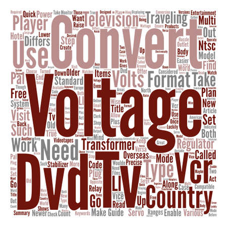 Guide to TV VCR and DVD Voltage Converters Word Cloud Concept Text Background Illustration