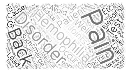 Hemophilia and Back Pain Word Cloud Concept Text Background