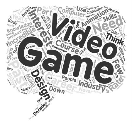 Start A Career In Video Game Design text background word cloud concept