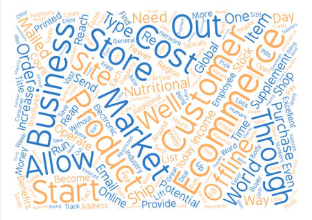 How to start a business through ecommerce text background word cloud concept