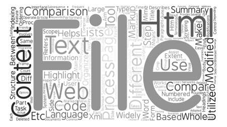 How To Make Comparison Of HTM Files Easier text background word cloud concept