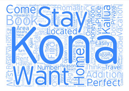 Kona Homes Perfect For Honeymooners Word Cloud Concept Text Background Çizim