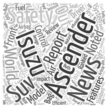 Isuzu Ascender Ranked High on Safety text background wordcloud concept