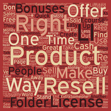 How To Make Quick Cash With Resell Rights text background wordcloud concept Ilustração