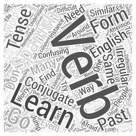 How to Learn Spanish Verbs Word Cloud Concept