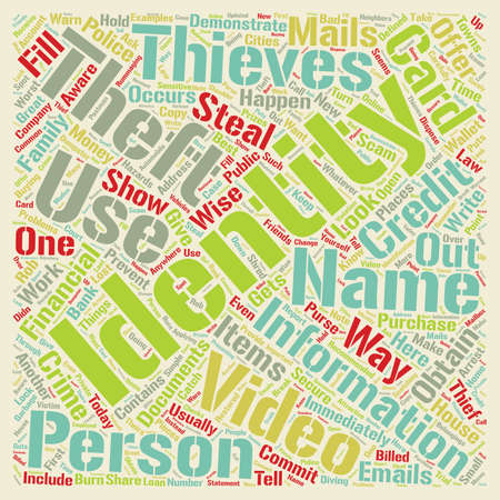 identity theft video text background wordcloud concept