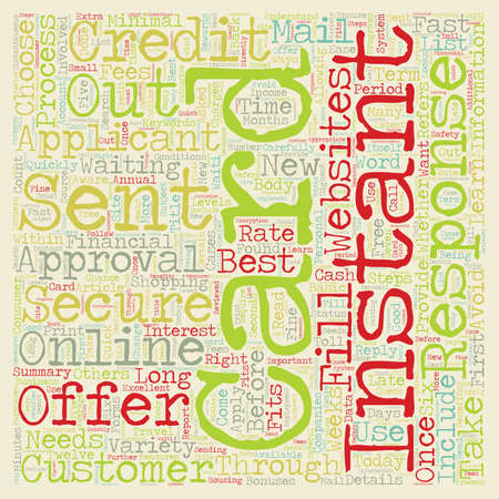 Instant Approval Credit Cards Instant Credit For Today s Consumer text background wordcloud concept Ilustrace