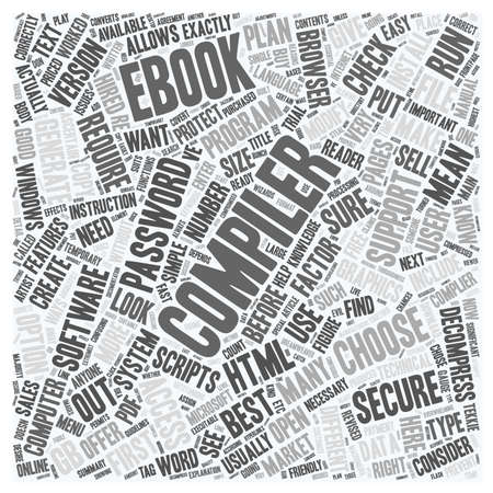 compiler: How to choose an eBook Compiler text background wordcloud concept