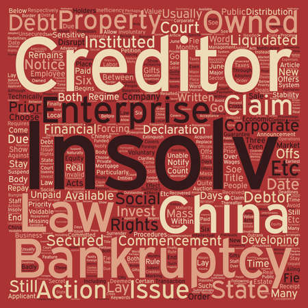 financial institutions: Insolvency And Corparate Bankruptcy In China text background wordcloud concept