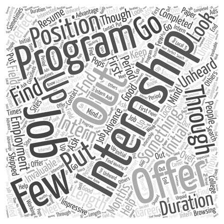 인턴쉽 프로그램 워드 클라우드 개념 일러스트
