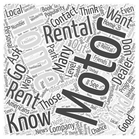 rentals: How to Find Motor Home Rentals Word Cloud Concept Illustration