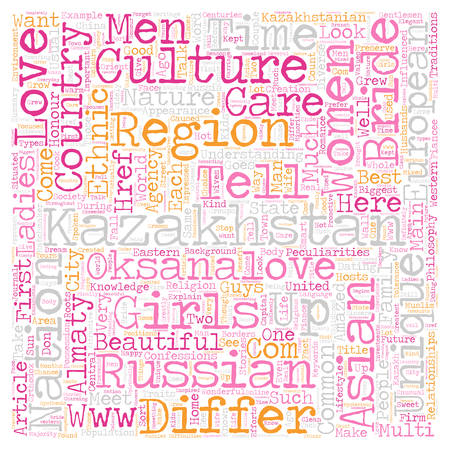 Kazakhstan and its beautiful women text background wordcloud concept