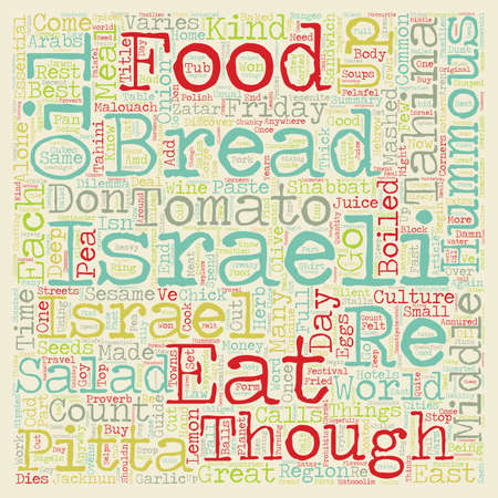 Israeli Food Guide text background wordcloud concept