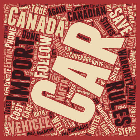 How To Import A Car Into Canada text background wordcloud concept