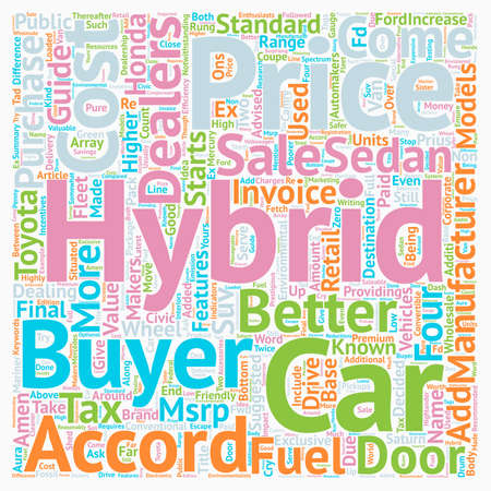 Hybrid Car Prices Good Value For The Money text background wordcloud concept