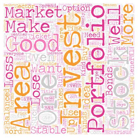 잘 균형 투자 포트폴리오를 만드는 방법 텍스트 배경 wordcloud 개념
