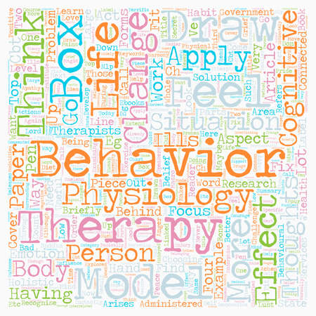 即座に学ぶ適用認知行動療法モデル テキスト背景の wordcloud コンセプト  イラスト・ベクター素材