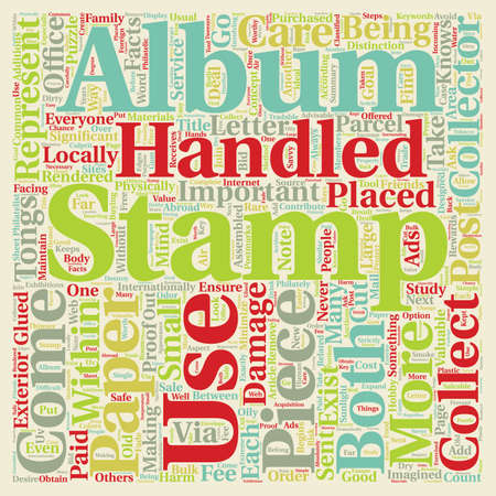 glued: Important Facts For The Stamp Collector text background wordcloud concept
